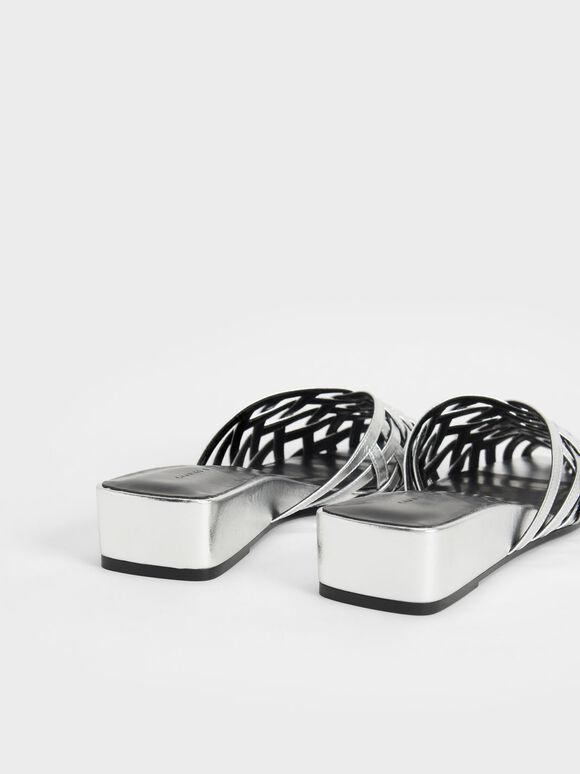 Metallic Woven Wedges, Silver, hi-res