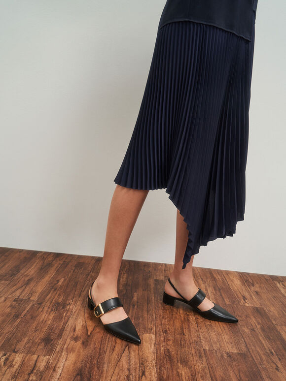 D字釦繞踝粗跟鞋, 黑色, hi-res