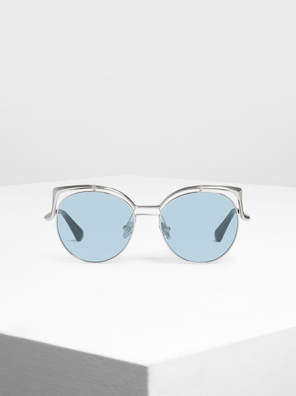 Wire Frame Round Shades, Silver, hi-res