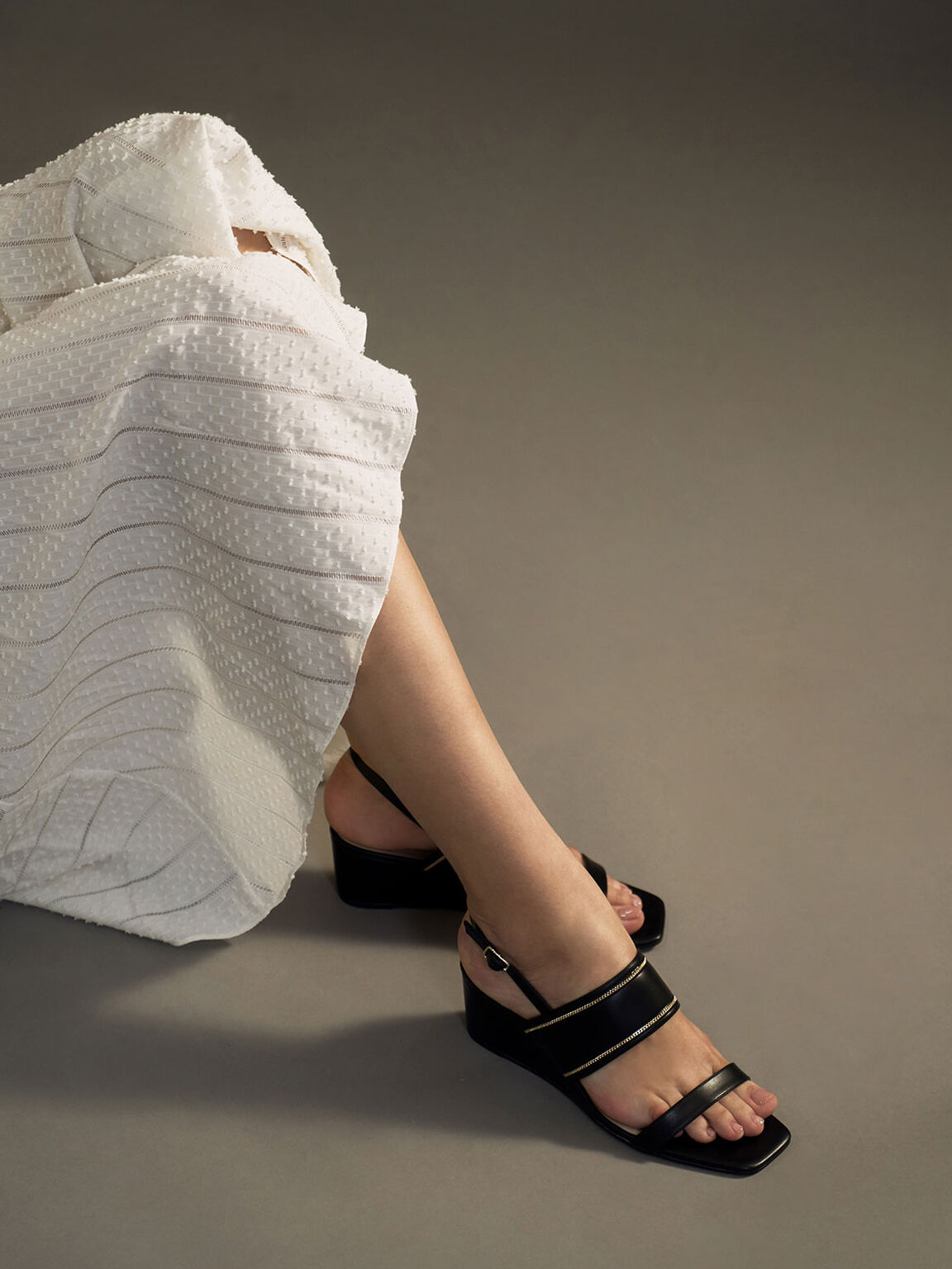 Chain Embellished Slingback Wedges, Black, hi-res