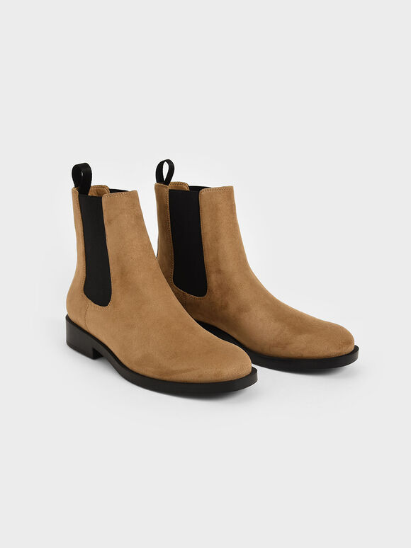 Textured Round Toe Chelsea Boots, Camel, hi-res