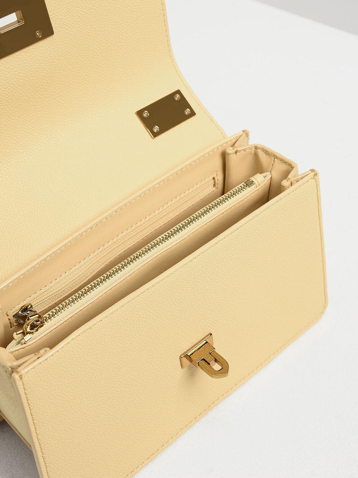 Metal Push Lock Crossbody Bag, Yellow, hi-res