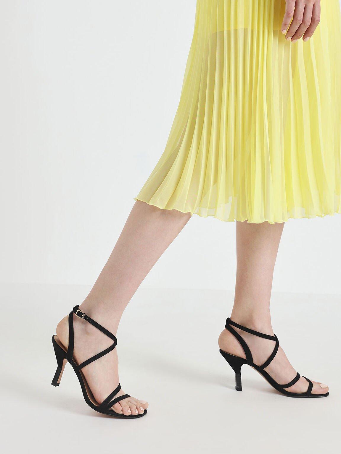 Strappy Blade Heel Sandals, Black, hi-res