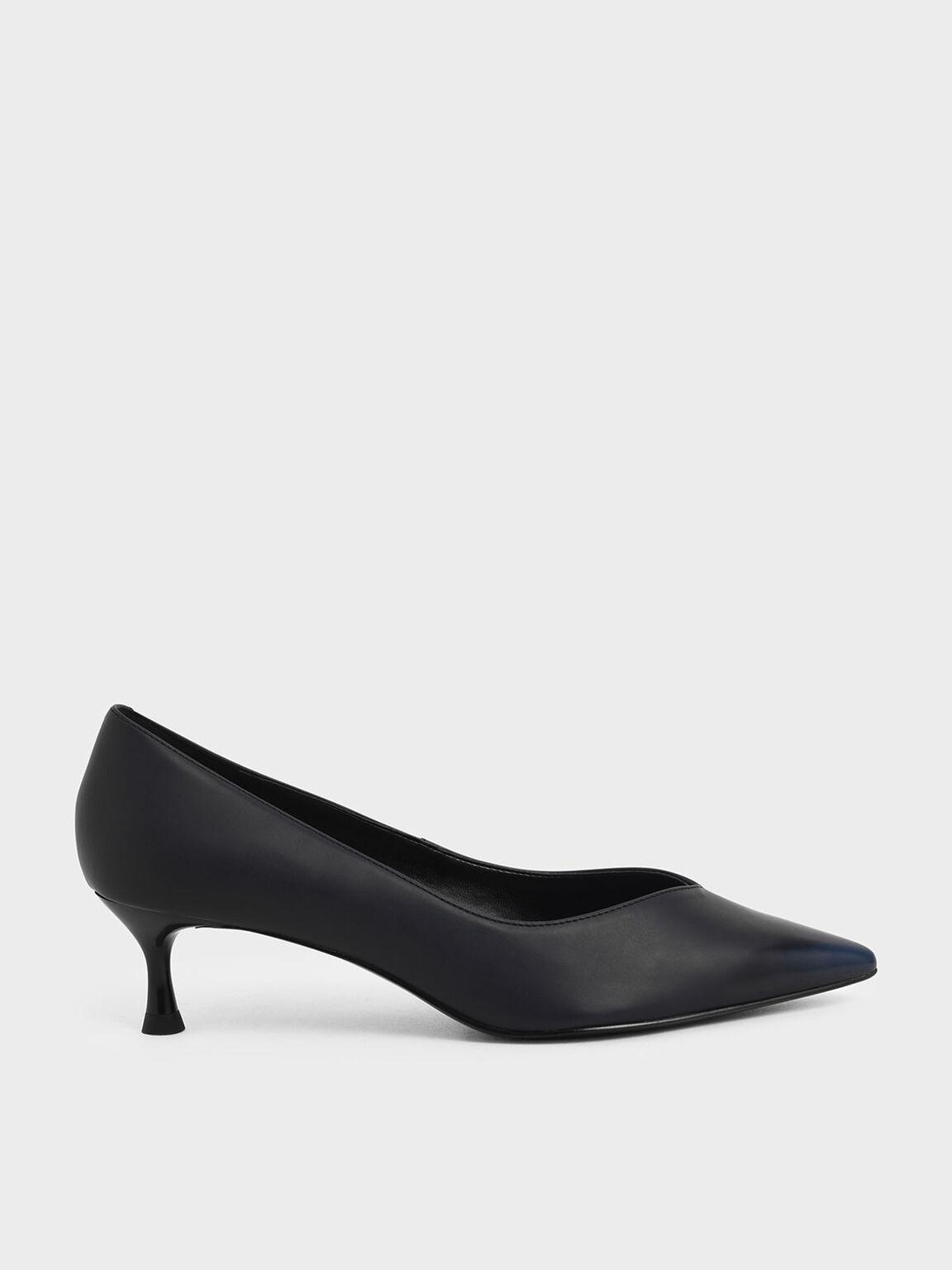 Brushed Effect Sculptural Heel Pumps, Black, hi-res