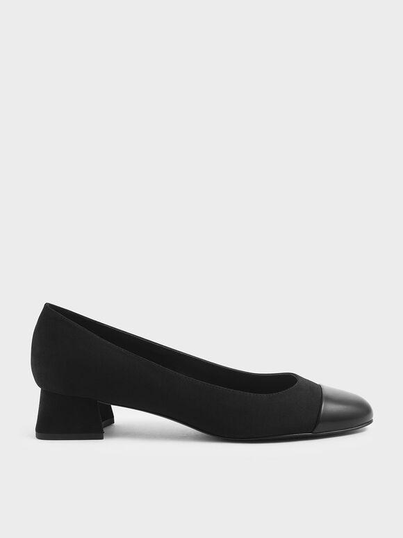 Round Toe Curved Block Heel Textured Pumps, Black, hi-res