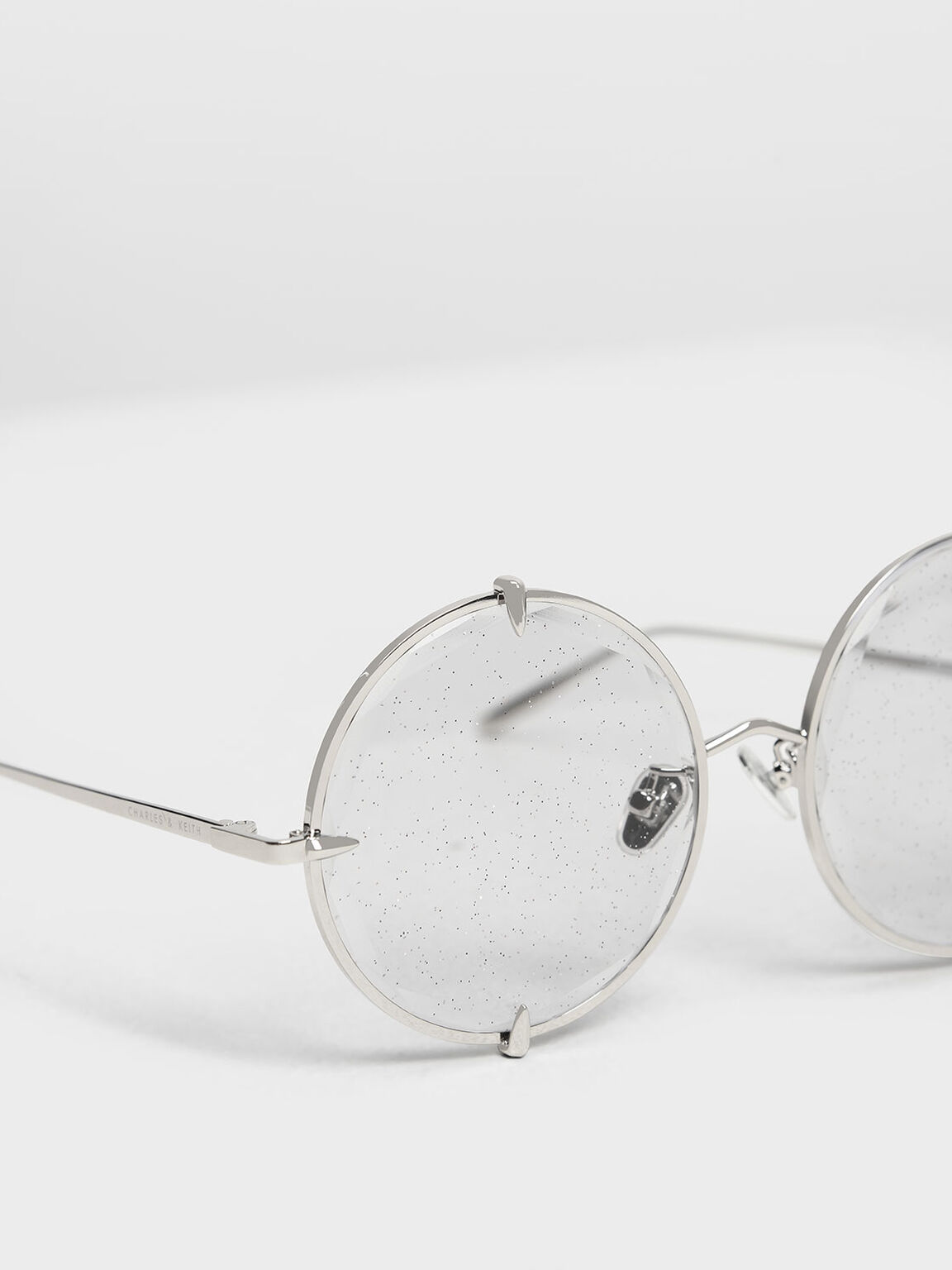Round Wire Frame Skinny Sunglasses, Grey, hi-res