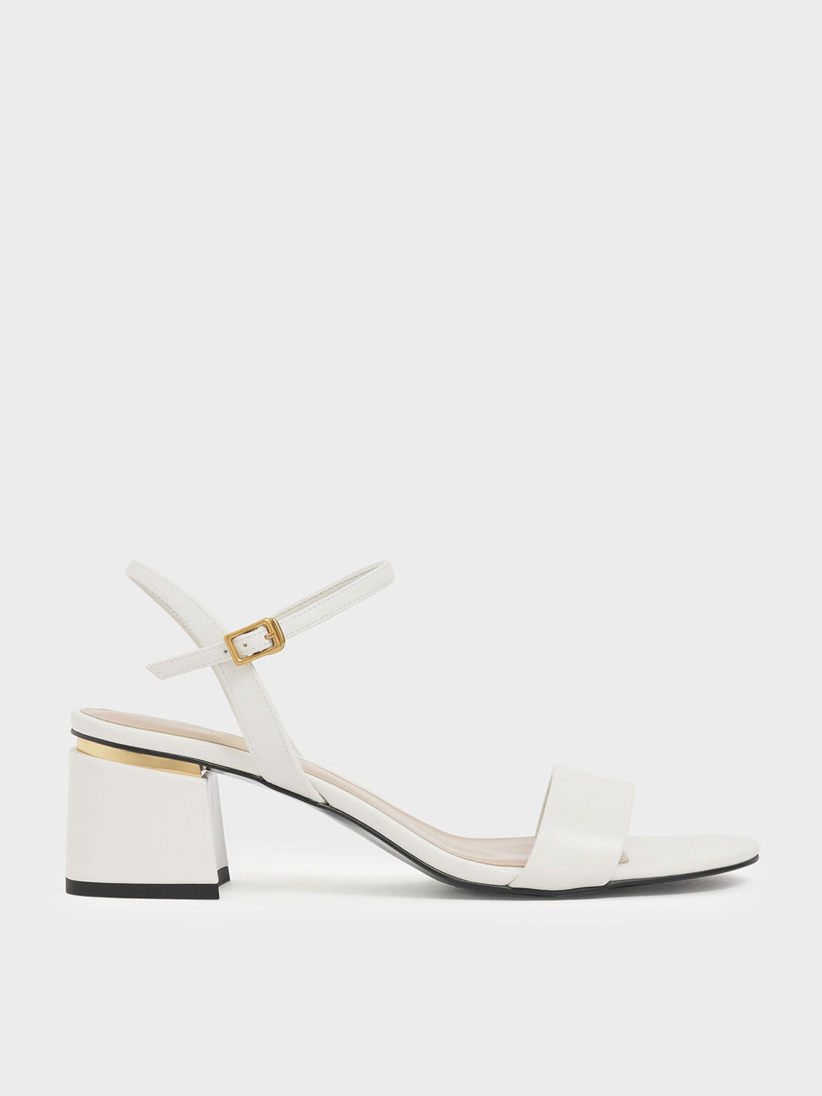 Open Toe Ankle Strap Block Heel Sandals, Chalk, hi-res