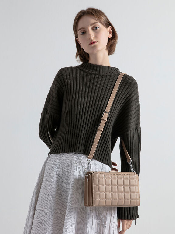 Removable Quilted Pouch Boxy Shoulder Bag, Beige