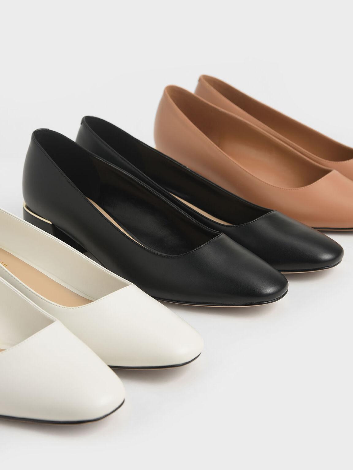 金屬拼接粗跟鞋, 黑色, hi-res