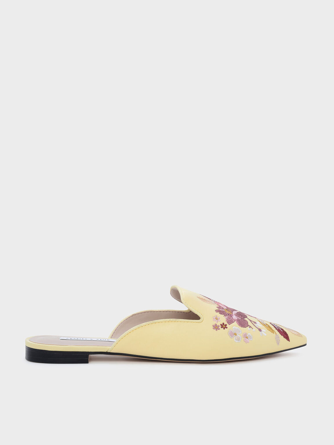 Floral Embroidered Sliders, Yellow, hi-res