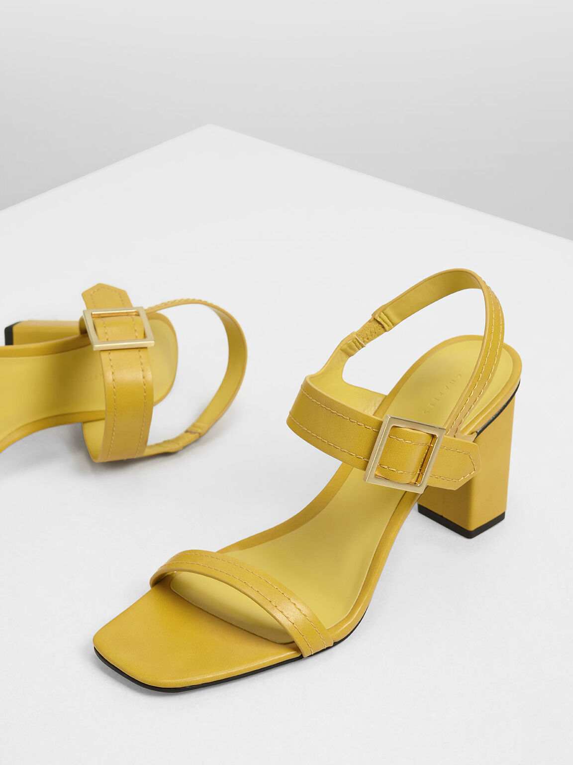 Buckle Detail Block Heel Sandals, Yellow, hi-res