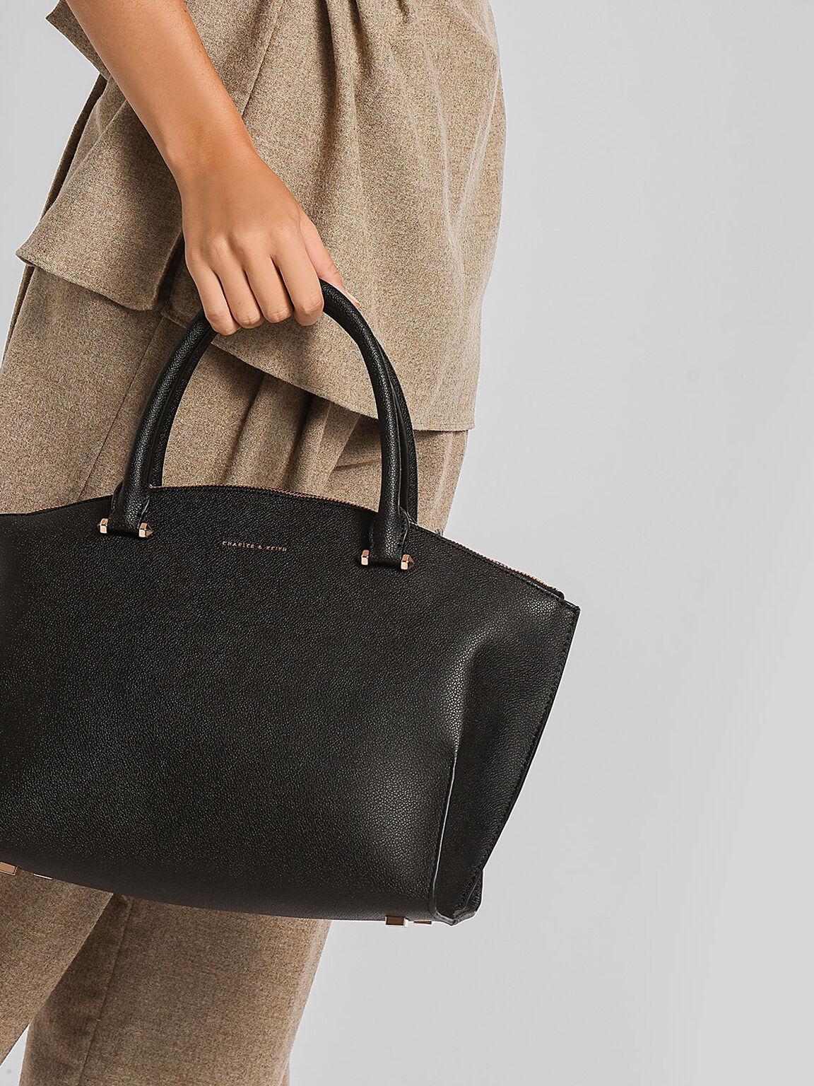 圓弧拉鍊式手提包, 黑色, hi-res