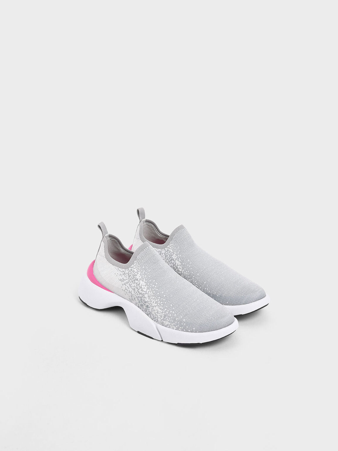 4WARD Collection: Knitted Slip-On Sneakers, Light Grey, hi-res