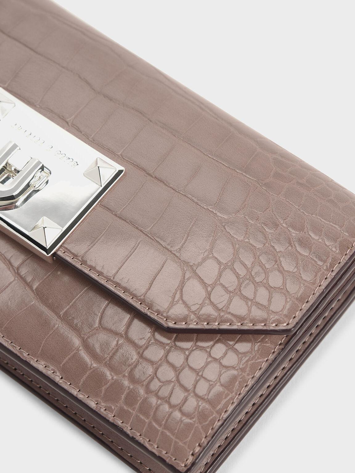 Croc-Effect Push Lock Flap Wallet, Mauve, hi-res