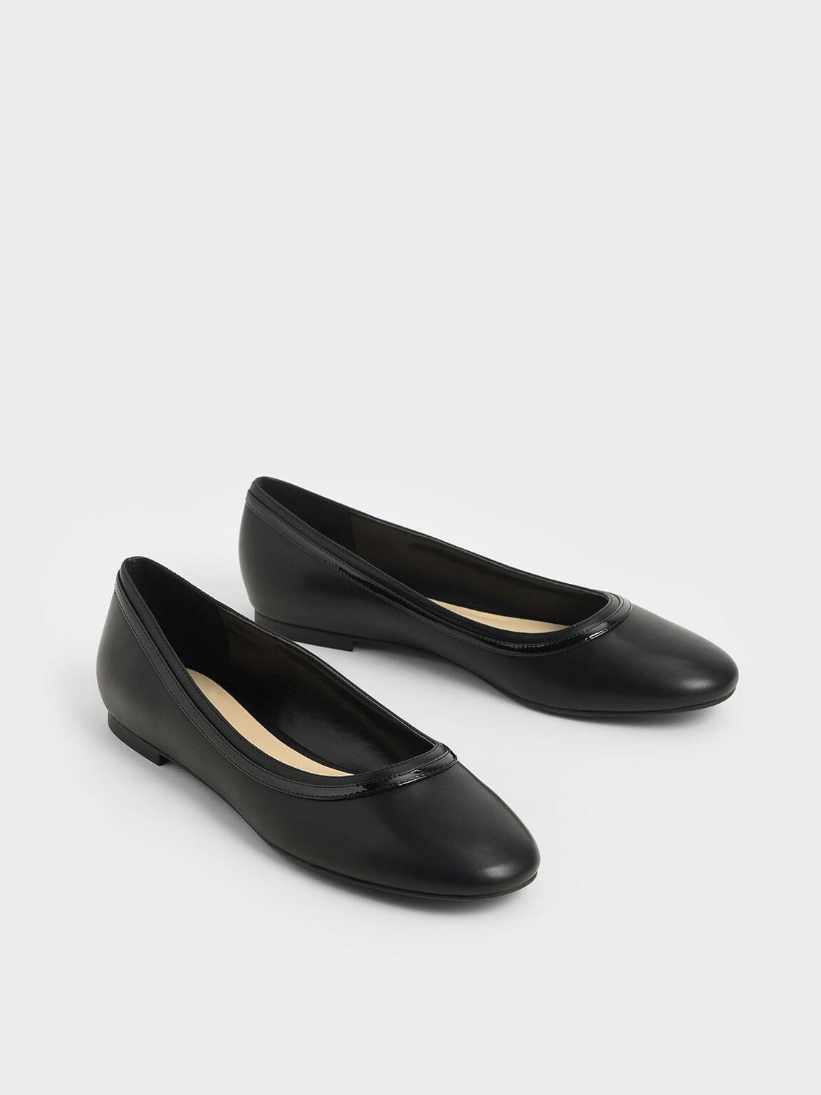 Round Toe Ballerina Flats, Black, hi-res