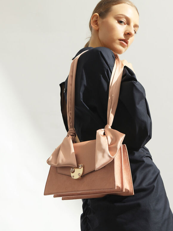 Satin Top Handle Shoulder Bag, Blush, hi-res