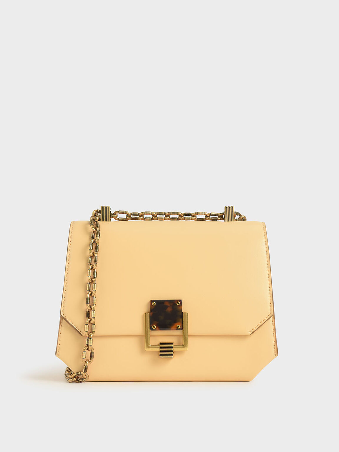 Chain Handle Geometric Crossbody Bag, Yellow, hi-res
