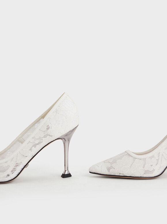 婚禮系列:花卉蕾絲細跟鞋, 白色, hi-res