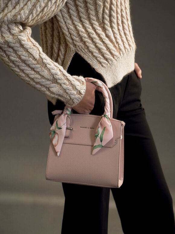 Scarf-Wrapped Top Handle Bag, Pink, hi-res