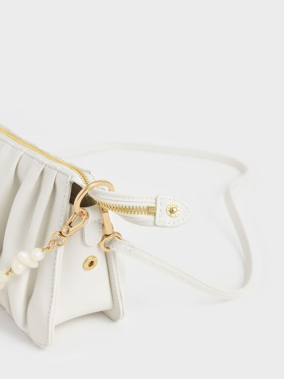 Beaded Strap Ruched Shoulder Bag, White, hi-res