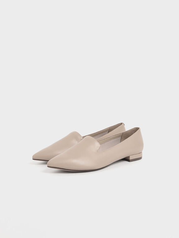 Pointed Toe Loafer Flats, Beige