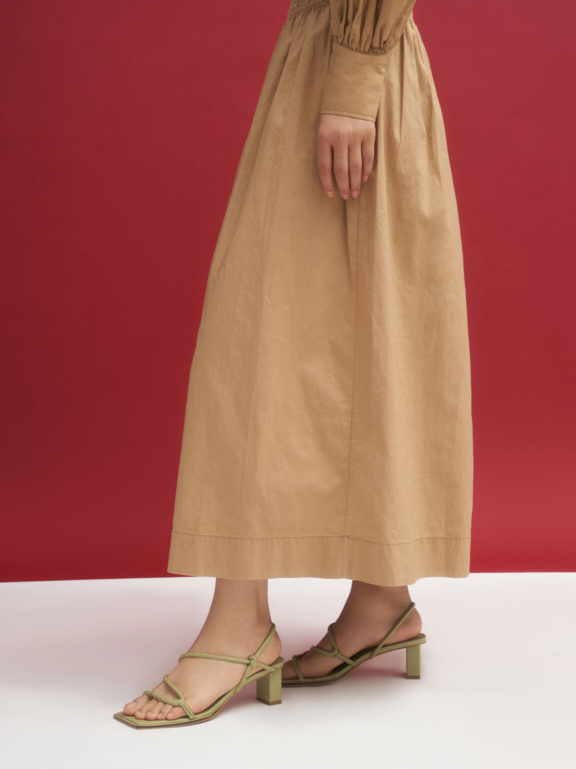 Strappy Toe-Loop Heeled Sandals, Taupe, hi-res