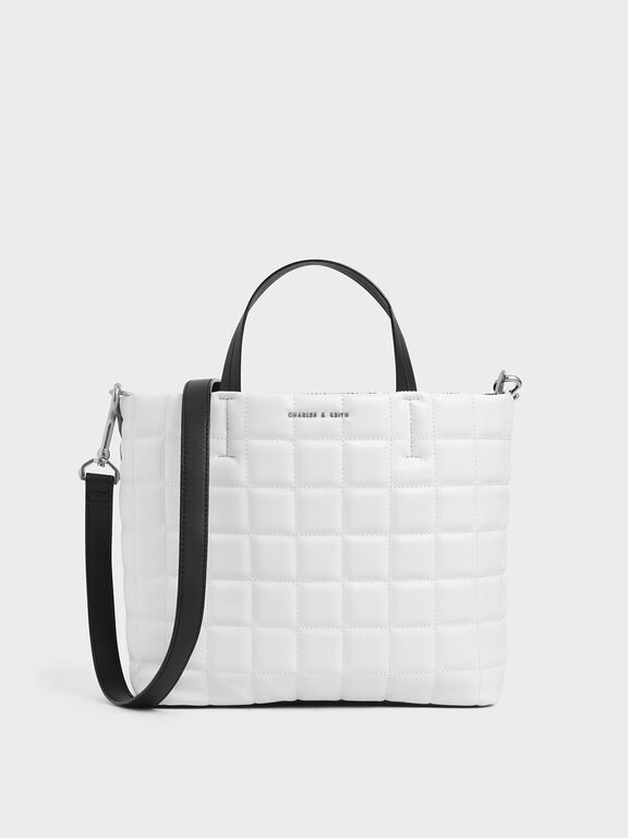 Two-Tone Quilted Short Strap Tote Bag, White