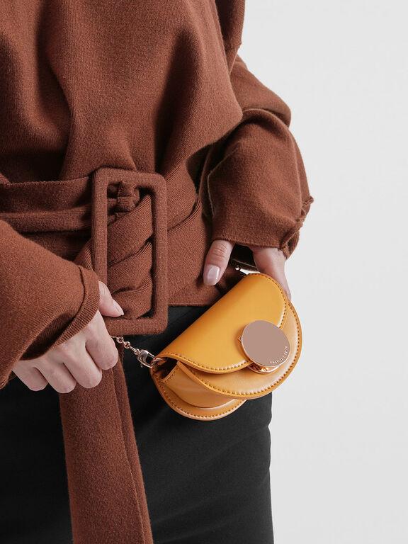 Circular Push Lock Saddle Pouch, Mustard, hi-res
