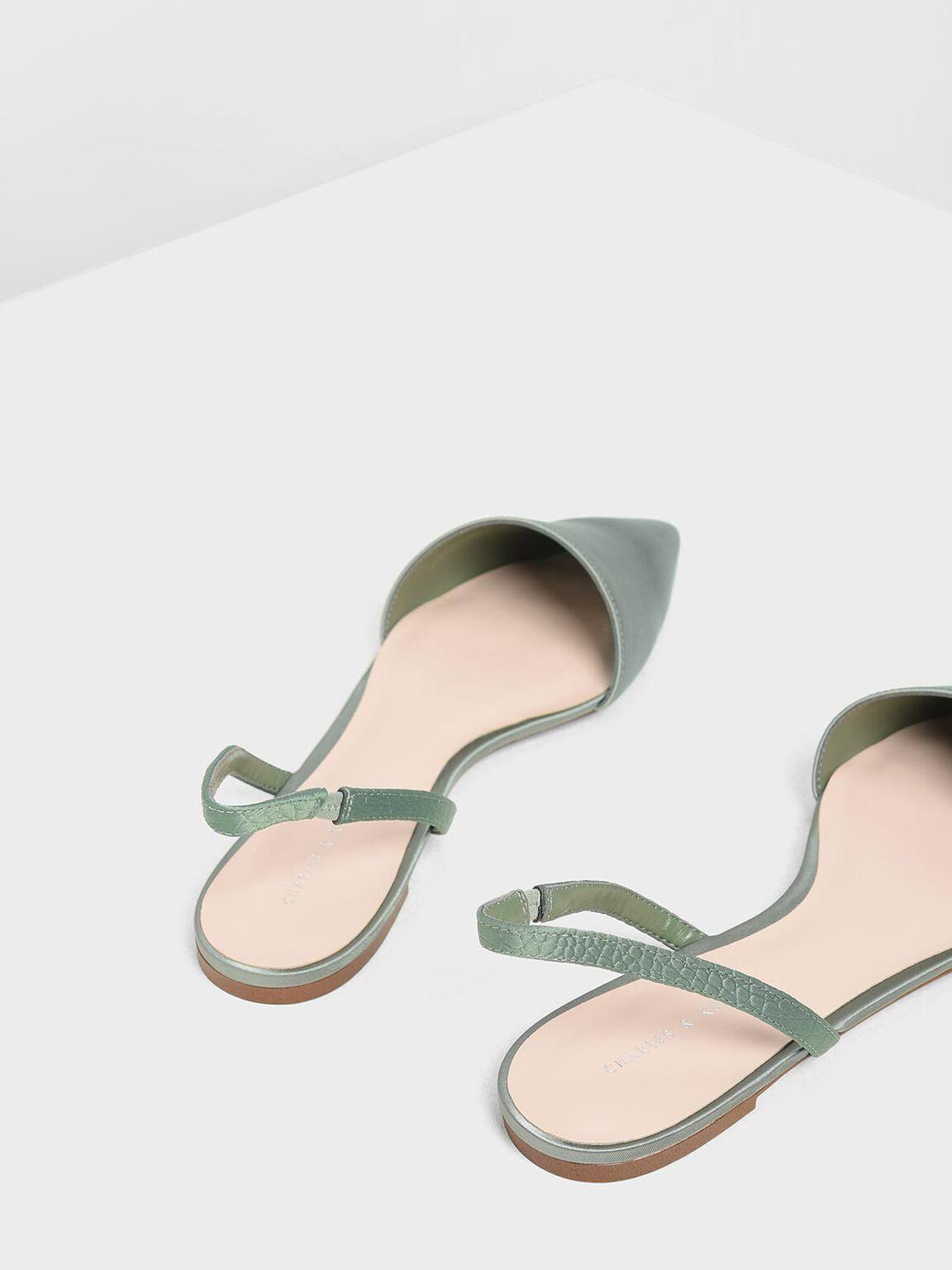 Satin Pointed Toe Slingback Flats, Green, hi-res