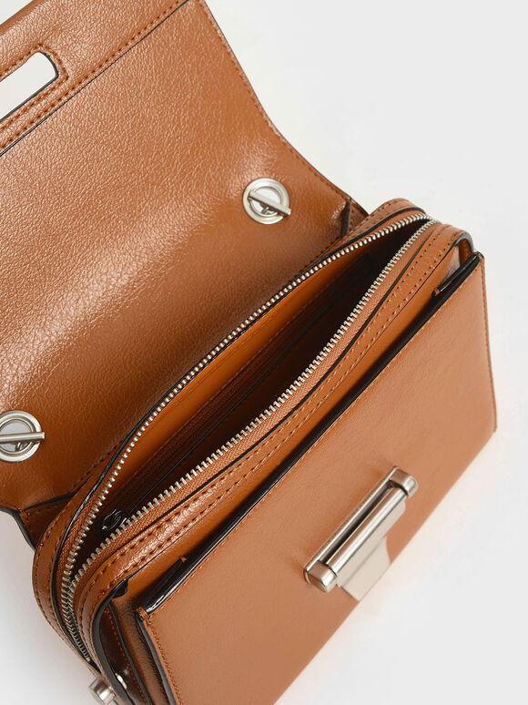 Metal Push-Lock Crossbody Bag, Cognac, hi-res