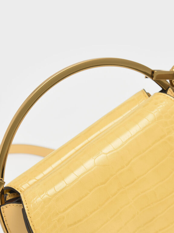Croc-Effect Circle Clutch, Yellow