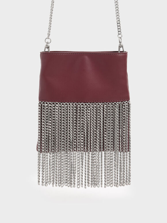 Chain Fringe Mini Crossbody Bag, Burgundy, hi-res