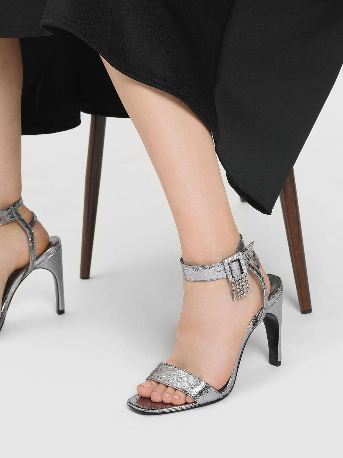 Embellished Buckle Metallic Heeled Sandals, Pewter, hi-res
