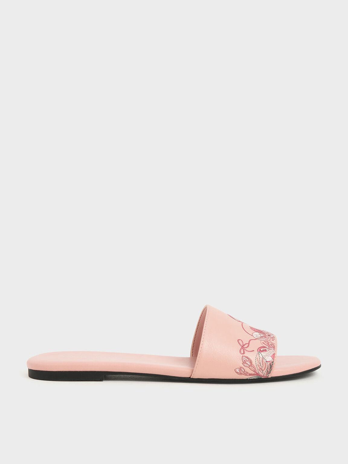 Embroidered Slide Sandals, Pink, hi-res