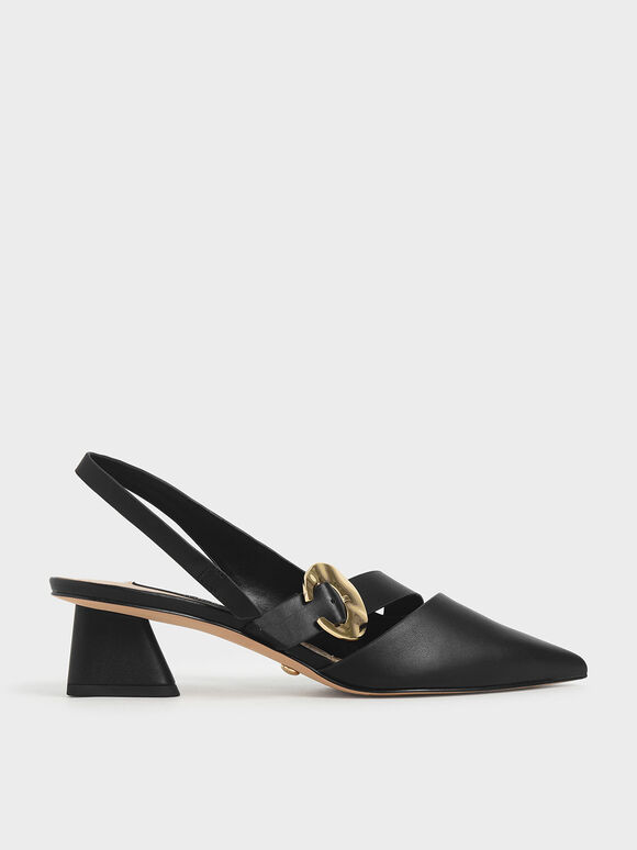 Leather Hammered Buckle Slingback Pumps, Black, hi-res