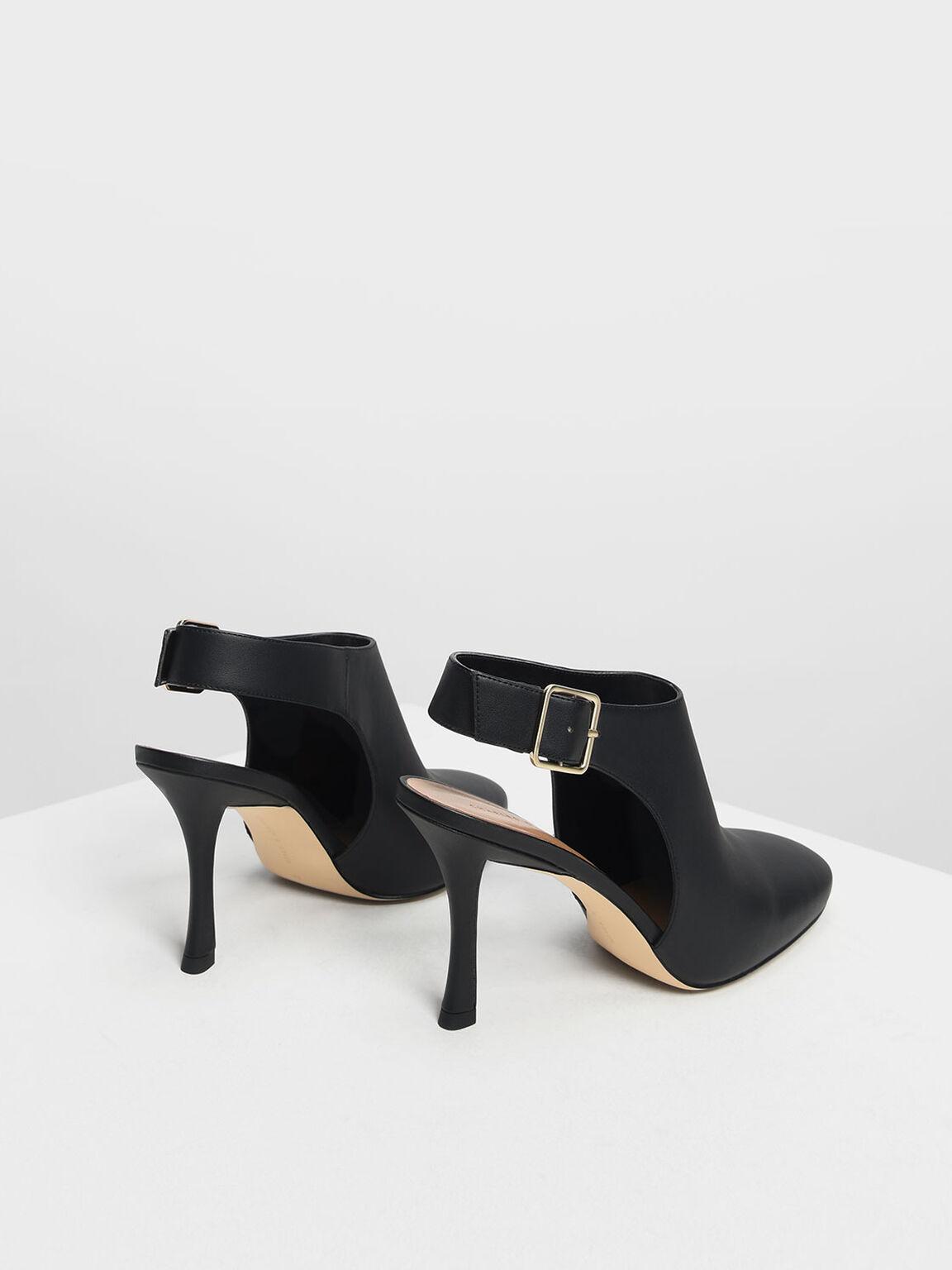 Slingback Ankle Boots, Black, hi-res
