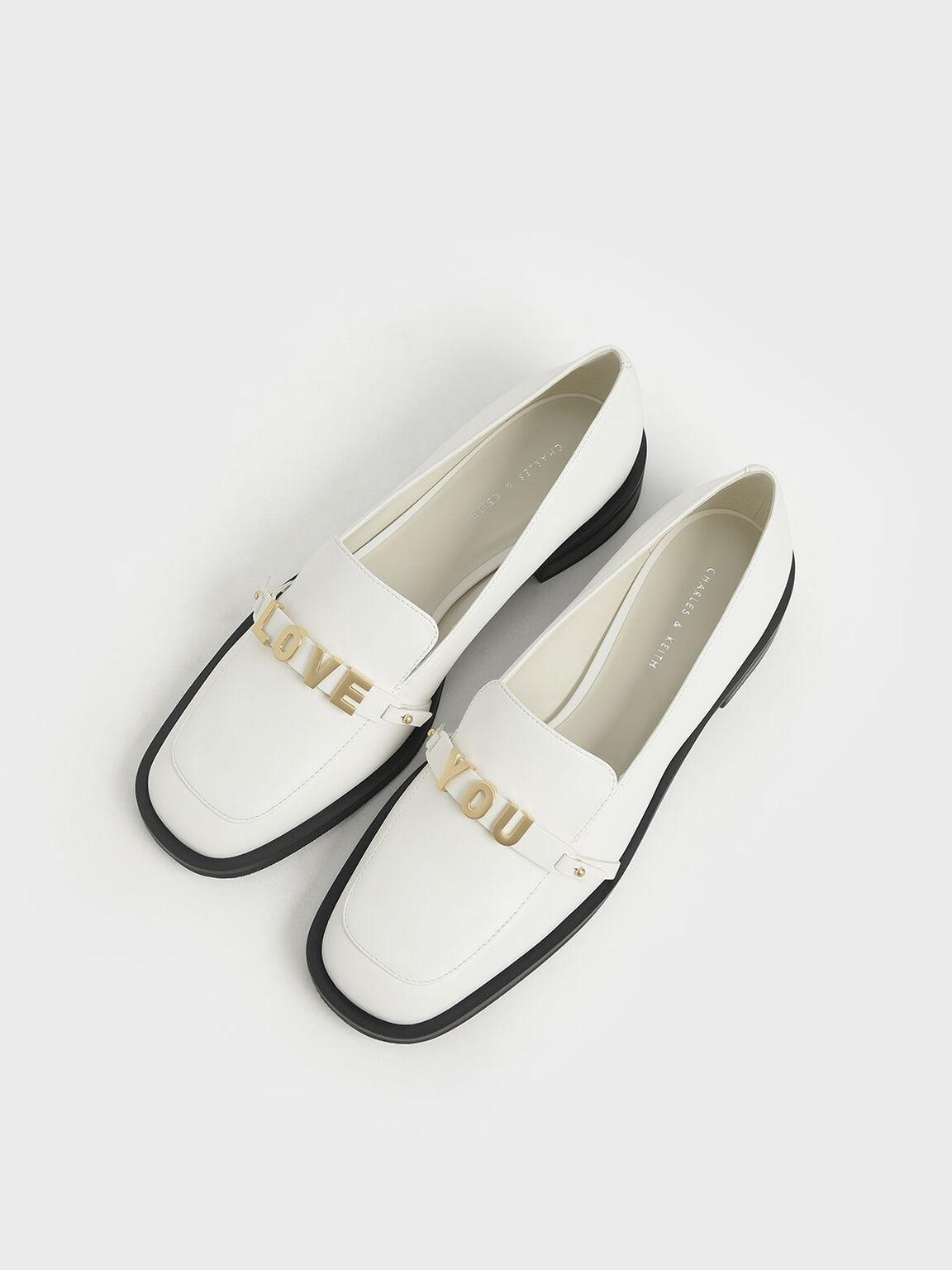 LOVE YOU方頭樂福鞋, 白色, hi-res