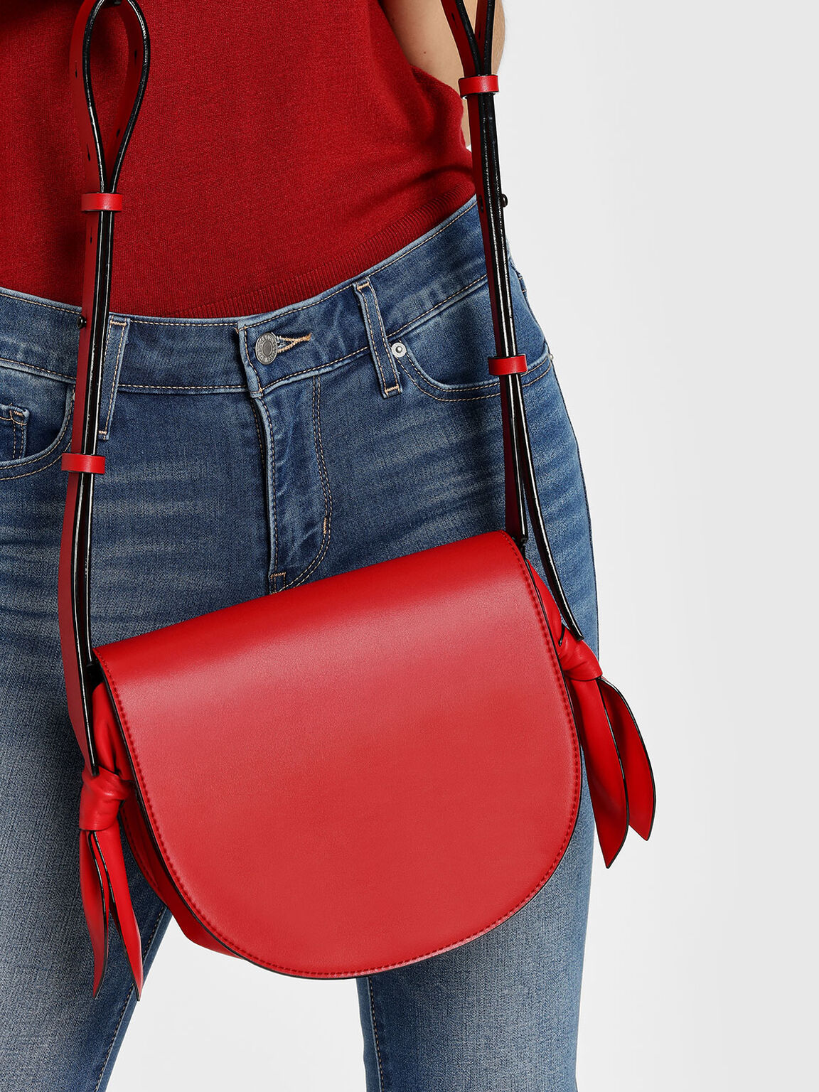 Knot Details Saddle Bag, Red, hi-res
