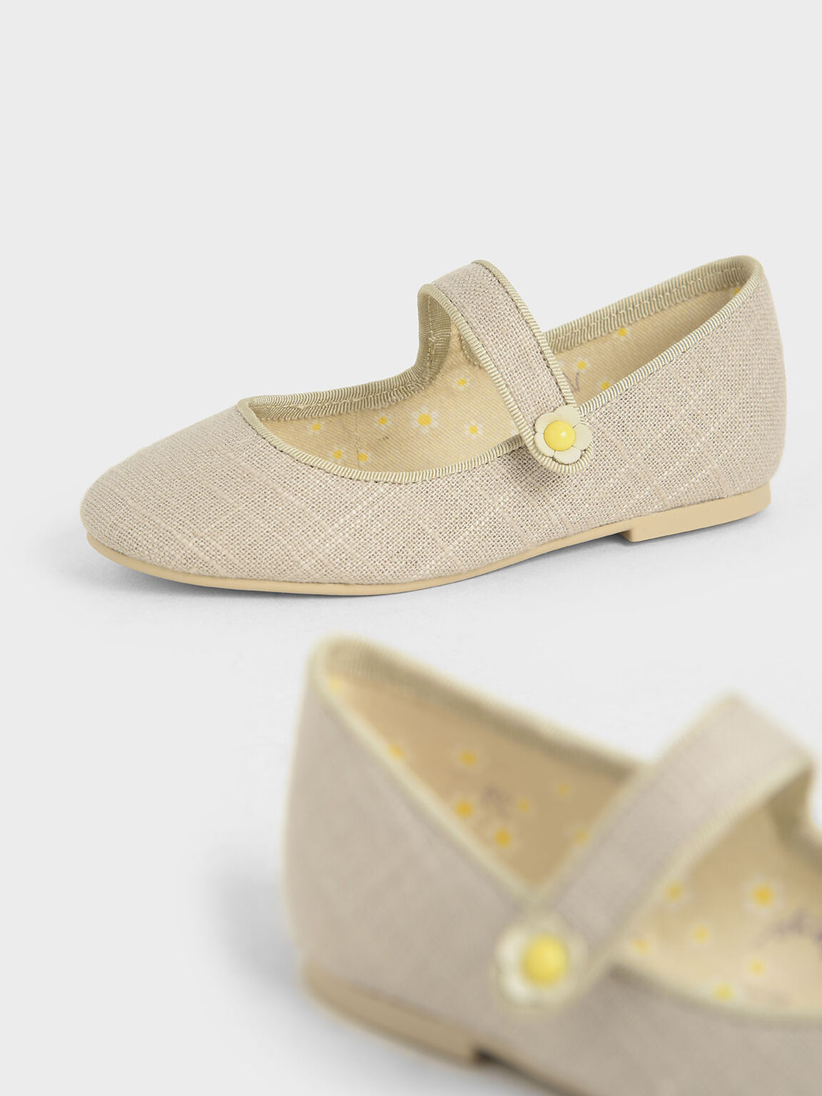 Girls' Cotton Mary Jane Ballerinas, Beige, hi-res