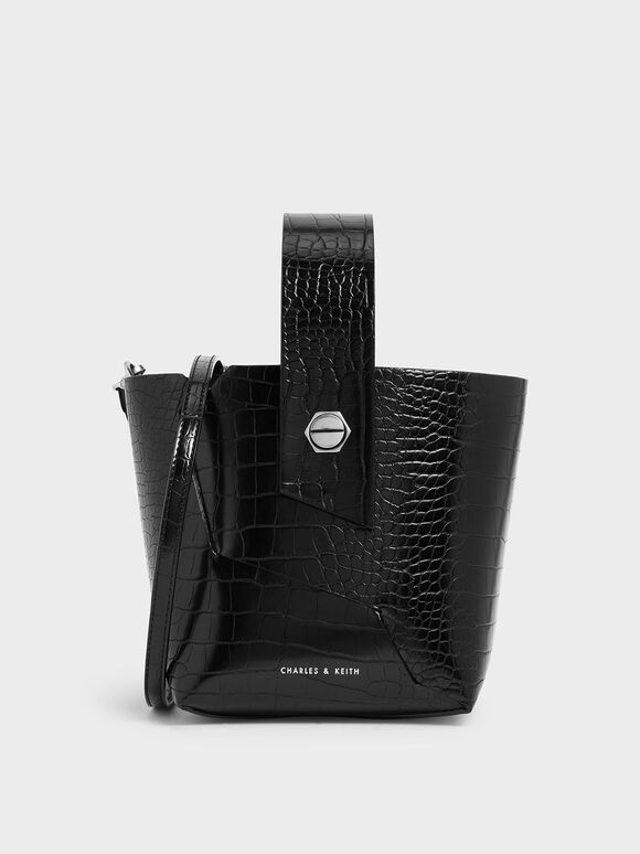 Croc-Effect Wristlet Handle Bucket Bag, Black, hi-res