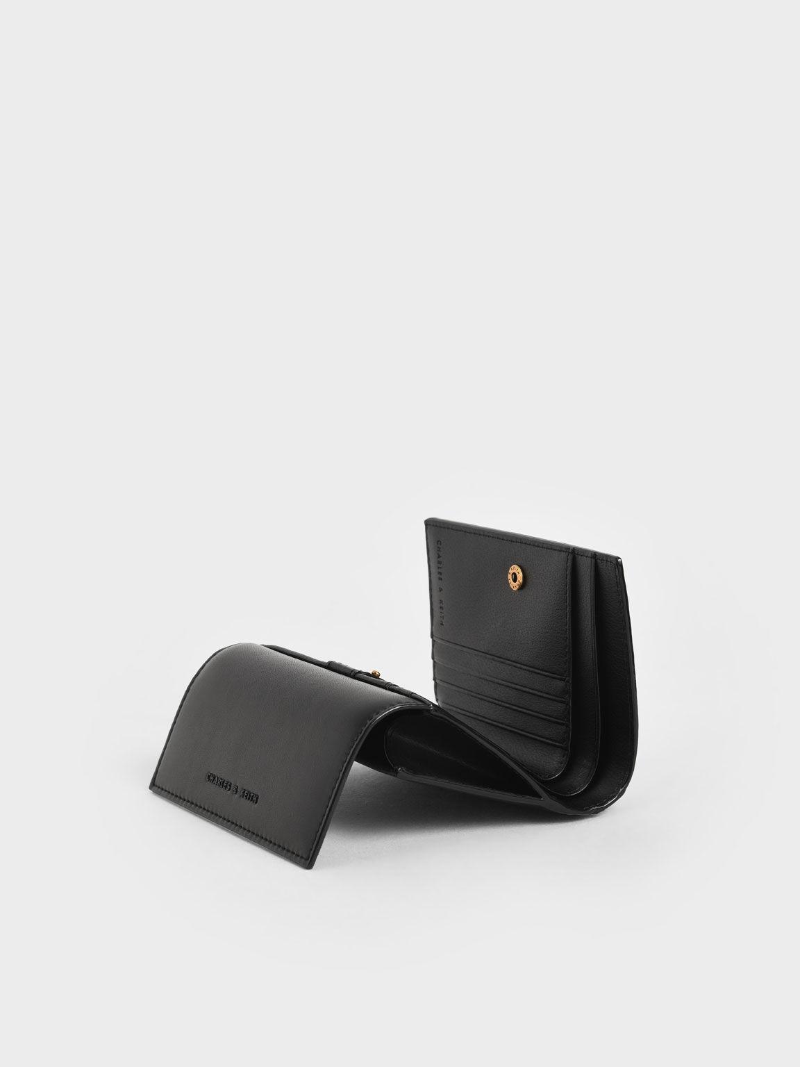 弧線壓紋短夾, 黑色, hi-res