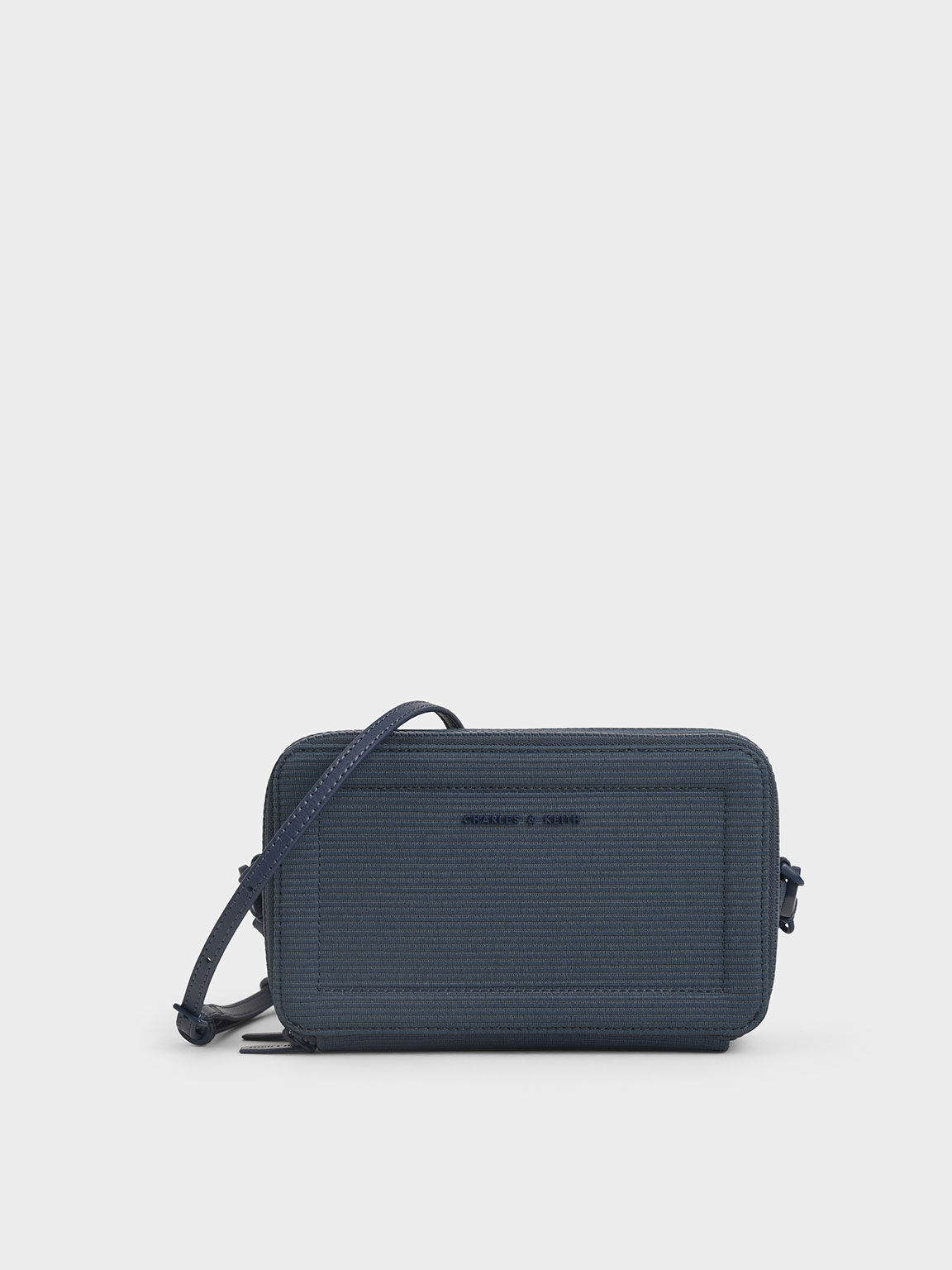 Grosgrain Stitch Trim Long Wallet, Blue, hi-res