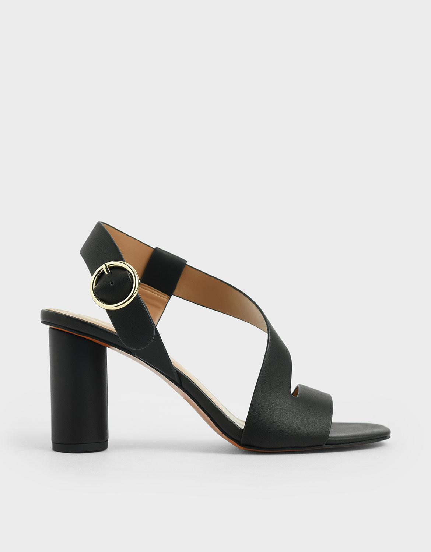 Black Asymmetric Strap Heeled Sandals