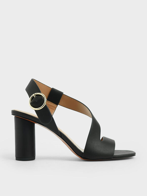 Asymmetric Strap Heeled Sandals, Black, hi-res