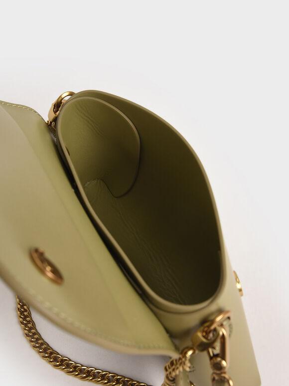 Metallic Buckle Crossbody Bag, Khaki, hi-res
