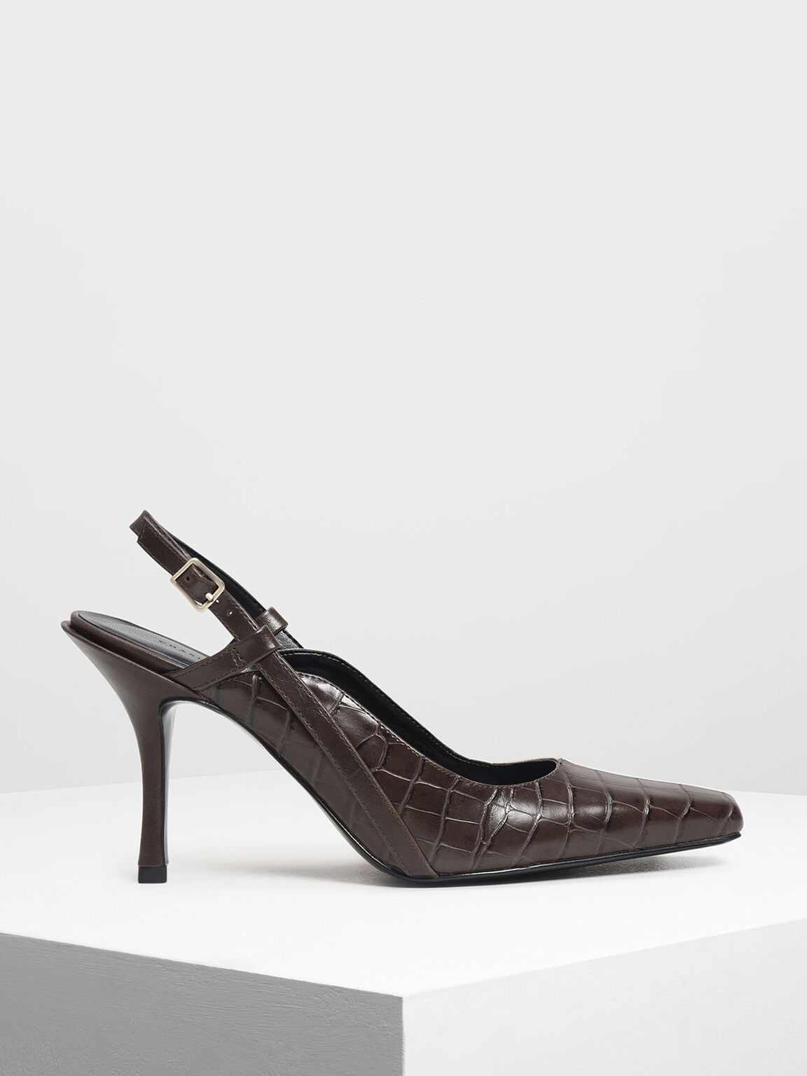 Square Toe Slingbacks, Dark Brown, hi-res