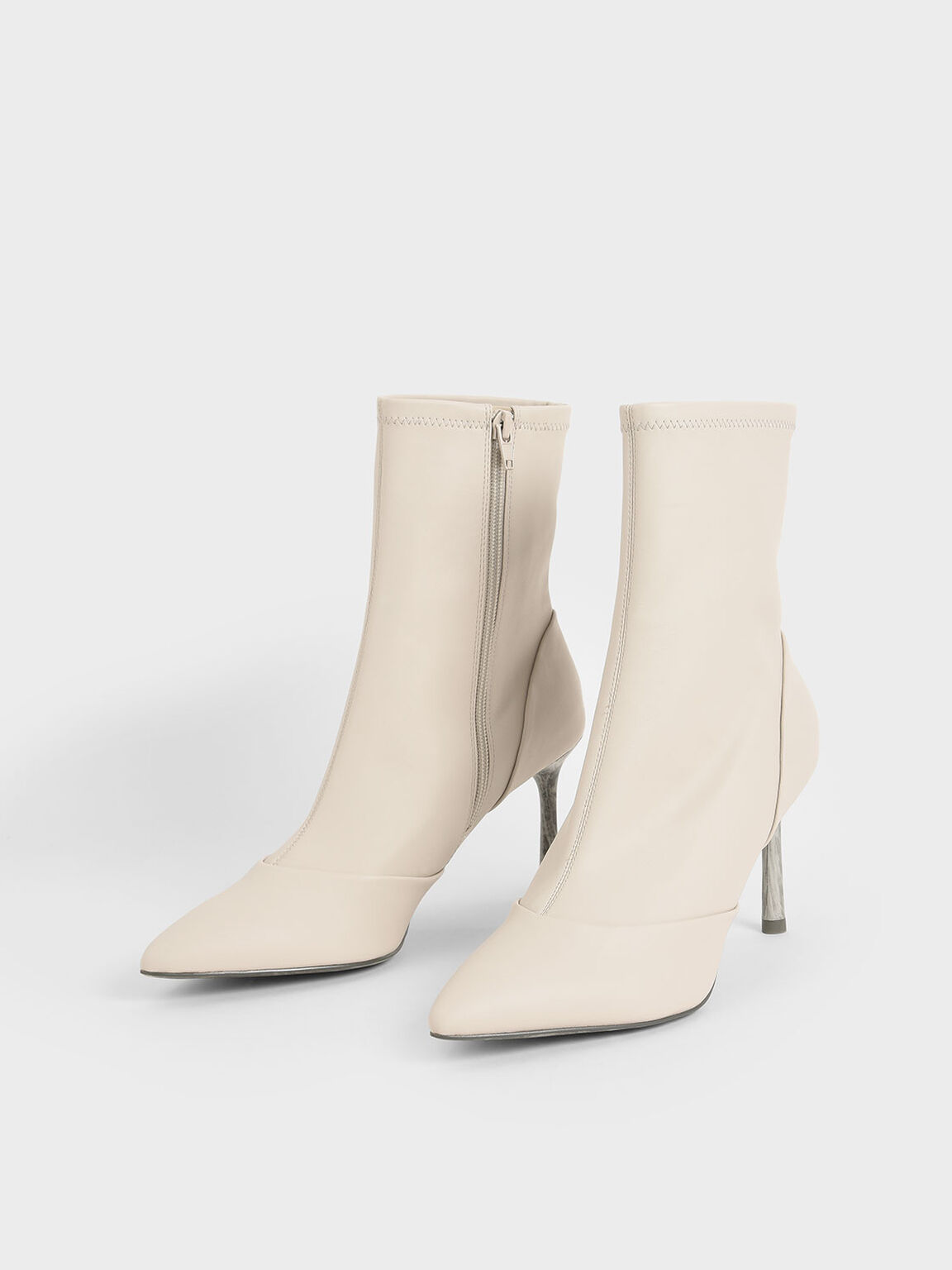 Stiletto Heel Ankle Boots, Chalk, hi-res