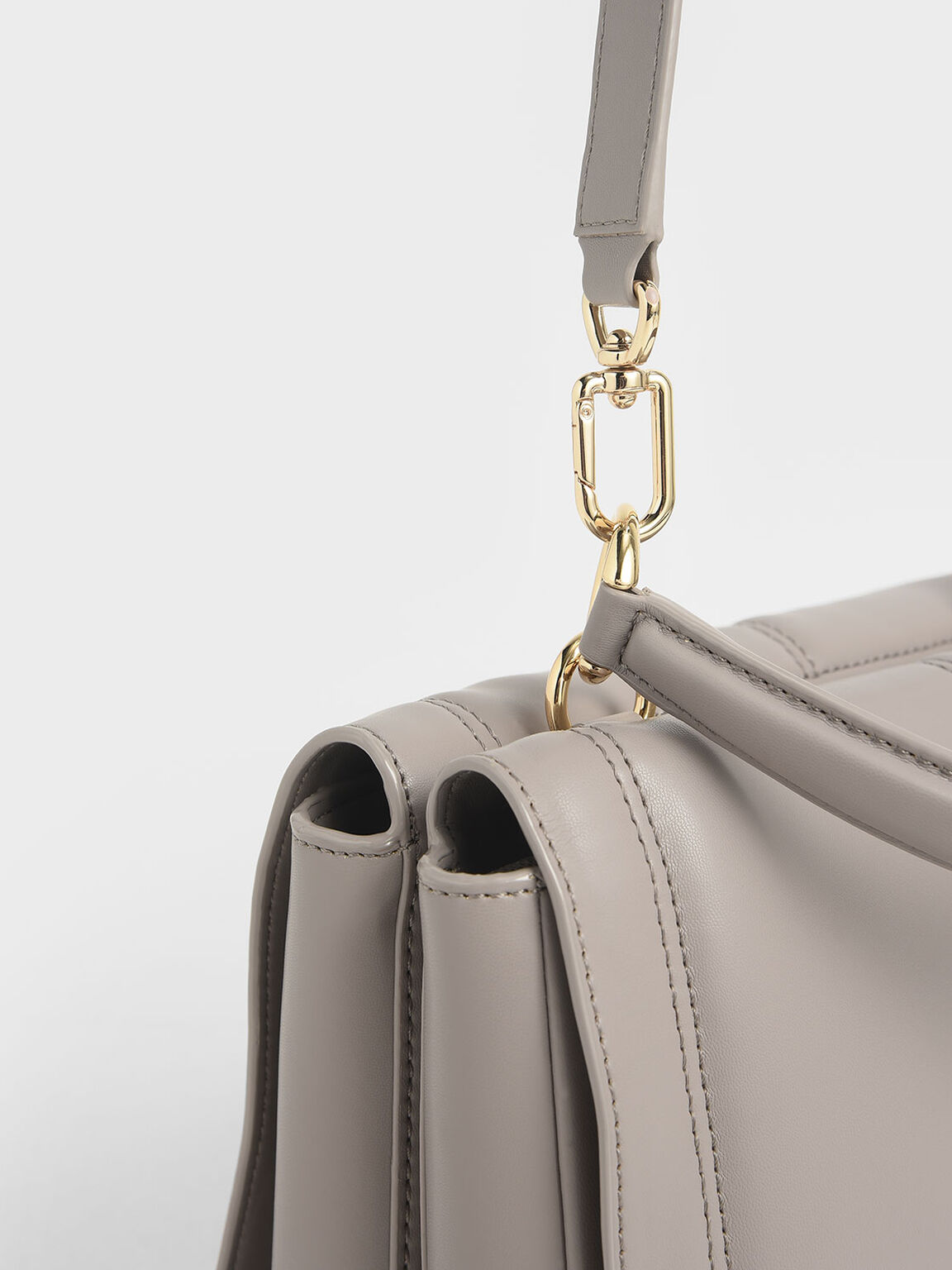 縫線手提包, 沙黃色, hi-res
