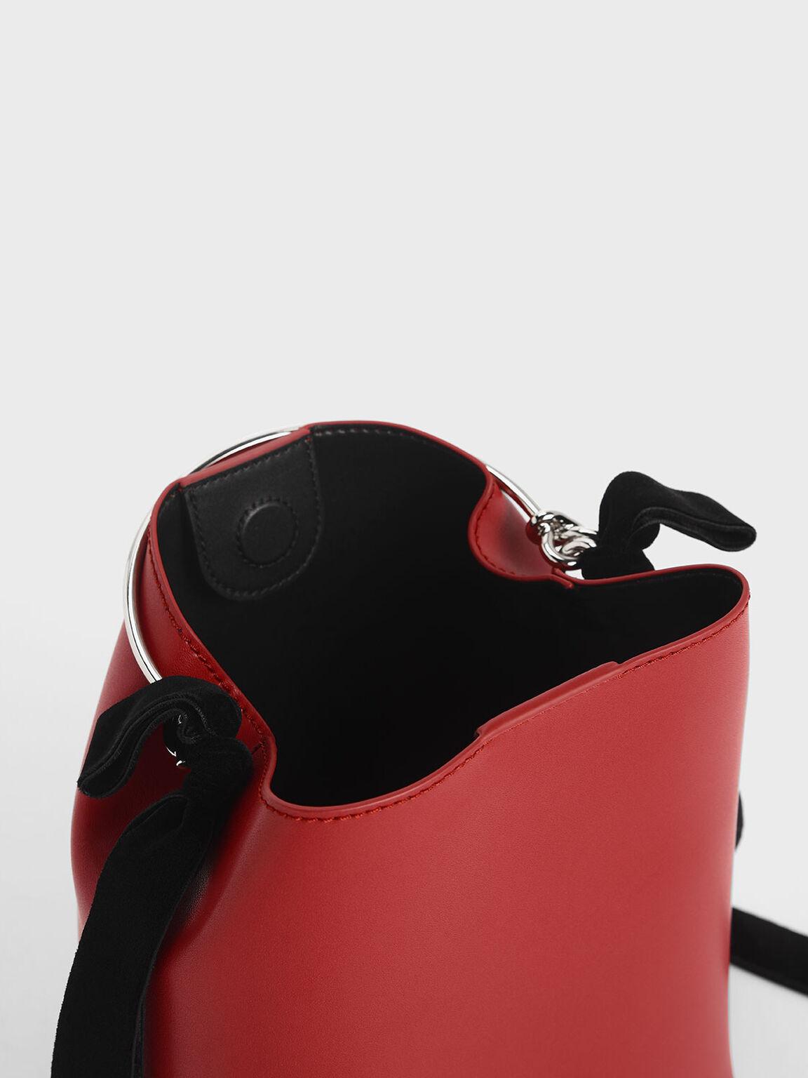 Velvet Bow Detail Bucket Bag, Red, hi-res