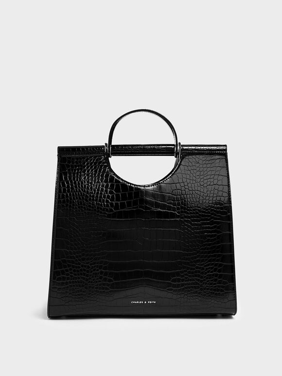 Croc-Effect Double Top Handle Structured Tote, Black, hi-res